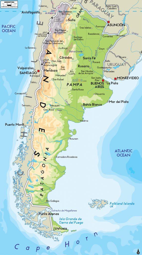 Argentina Mapa físico