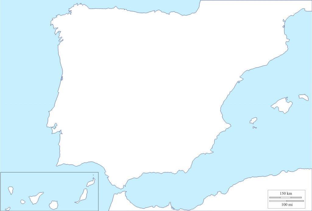 mapa de españa mudo