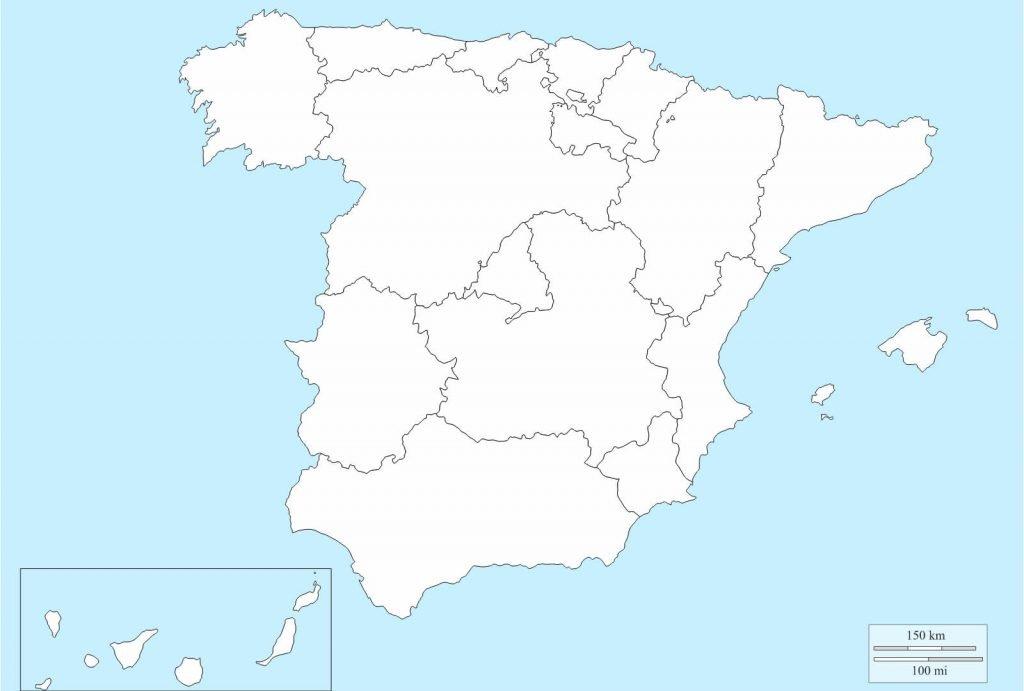 Mapa de España mudo comunidades