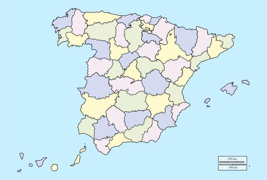 Mapa de españa mudo provincias