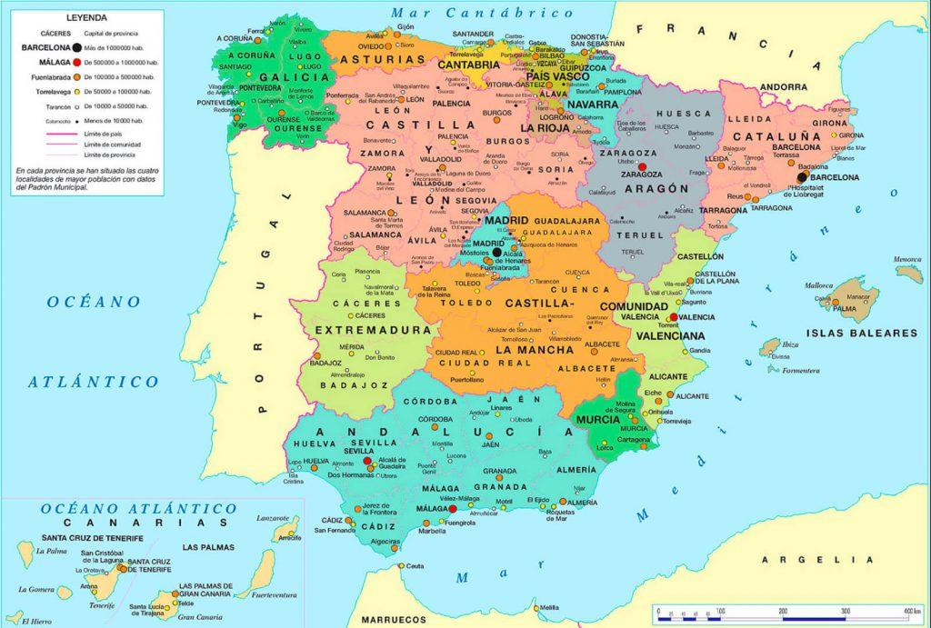 Mapa de españa politico
