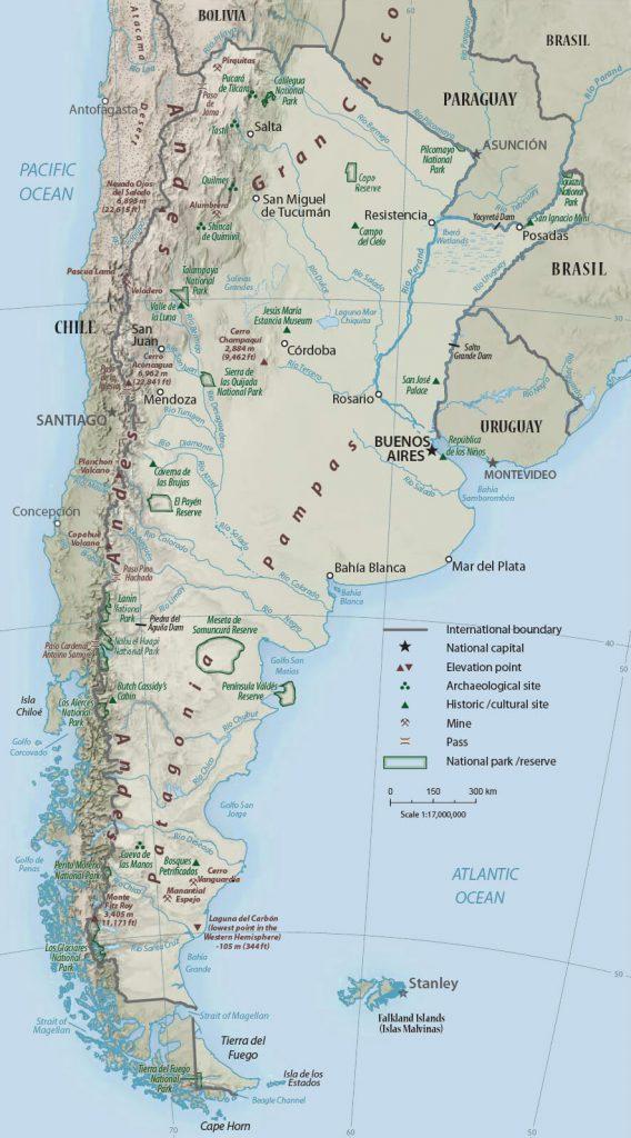 Mapa físico de Argentina