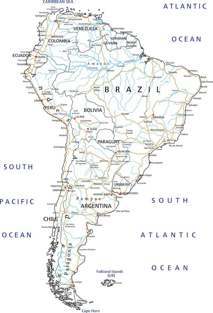 mapa de América del sur con ríos