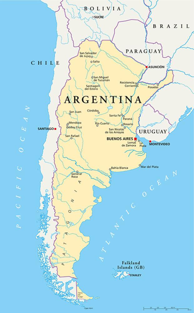 mapa de Argentina con ríos