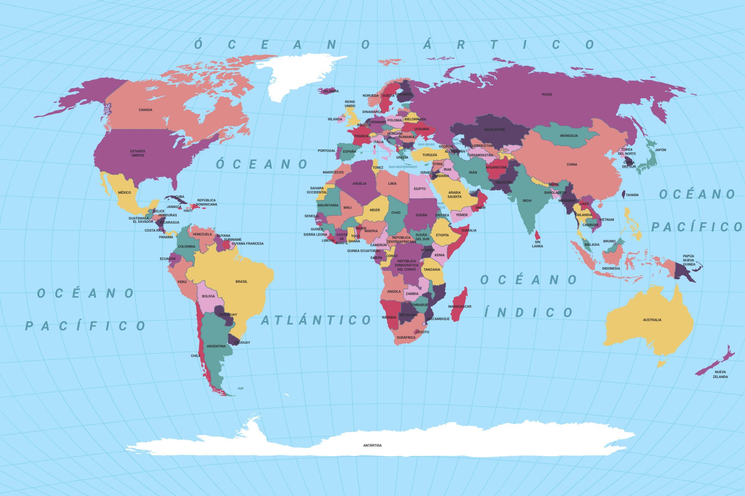 mapamundi político con nombres español